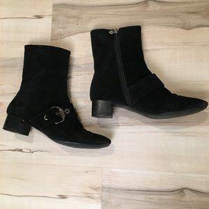 Etienne Aigner Black Suede Boots 7 1/2